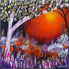 ooak Original stan johnson art painted forest flower tree landscape painting