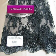 Super Bridal luxury wedding beaded black mesh lace fabric. Sold by the yard