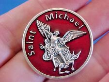 "ARCHANGEL ST MICHAEL Pocket Token Protection RED ENAMEL 1-1/8"" Saint Medal"