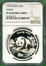 CHINA   PANDA 1995 SILVER PROOF  NGC PF  69      10 YUAN