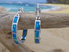 Large Sterling Silver lever back Hoop Earrings with inlaid Opal
