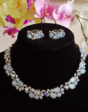 Vintage Lisner Baby Blue Lava Rock Necklace-Earrings Demi Parure Set $199.00