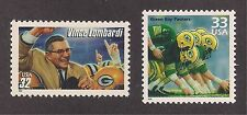 VINCE LOMBARDI - GREEN BAY PACKERS - SET OF 2 U.S. STAMPS - MINT CONDITION