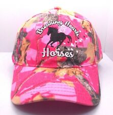 Cowgirl Womens Breaking Hearts and Horses in Pink Camo Ball Cap Hat Horse H10