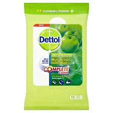 Dettol Complete Clean Green Apple Floor Wipes 15 Pieces (Pack of 3) NEW
