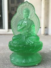 Green Medicine Buddha With Back Light/Art Colored Glass/Crystal Sculpture