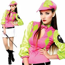 Adult Female Jockey Fancy Dress Horse Racing Costume Ladies Womens