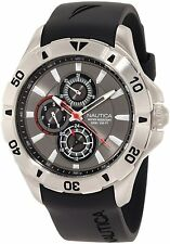 Nautica Men's A14609G NST 06 Multifunction Grey Dial / Black Resin Strap Watch