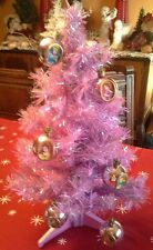Dysney Princess 2004 Vintage 2ft Christmas Tree W/ Ornaments Purple Violet Stand