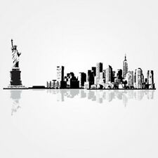 New York City Cityscape with the Statue of Liberty Vinyl Wall Accent Decal