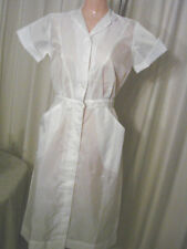 Vintage 60s Semi-sheer NYLON Nurses Dress Uniform EC S Loop Button Snap Skirt