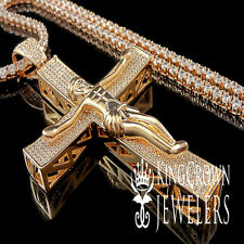 14K ROSE GOLD FINISH LAB DIAMOND JESUS CRUCIFIX CROSS CHARM PENDANT CHAIN SET