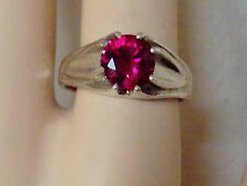 2.50ct red ruby 925 sterling silver ring size 9 USA made