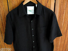 NWT Mens Silk Linen Camp Shirt Black Hawaiian Button Front Solid Casual Small S