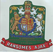 Ransomes Ajax Mark 3 Vintage Mower 'H.M.THE KING' Coat of Arms Repro Decal