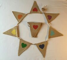 Bunting - Shabby Chic Rustic Farmhouse Burlap Pastel Coloured Heart Non Fray 5ft