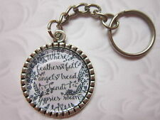 Angels/gypsies roam Key Chain Ring glass cabochon silver tone gift ...