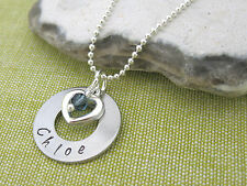 Personalised Name Pendant Heart Charm Birthstone Necklace Ball Chain Gift