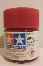 Tamiya acrylic paint XF-7 Flat Red 23ml.