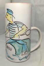 Vintage Mug Tankard Holland Hand Painted Beer Sailor Possibly Gouda Art Pottery