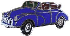 Morris Minor convertible car cut out lapel pin - Blue body