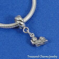 .925 Sterling Silver SHIHTZU SHIH TZU DOG EUROPEAN Dangle Bead CHARM