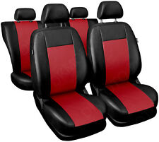 Universal CAR SEAT COVERS full set fits Peugeot 206 leatherette Red/Black