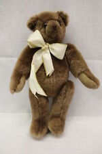 "CANTERBURY BEARS ENGLAND, ""Canterbury"" Brown Jointed Bear W/Ivory Bow, 13"" Tall"