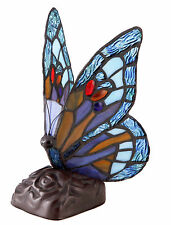 REAL STAINED BLUE GLASS BUTTERFLY TIFFANY TABLE LAMP MULTICOLOUR - HEAVY BASE