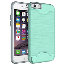 New Hybrid Shockproof Card Holder Slot Kickstand Case Cover for iPhone 7 Plus 6S