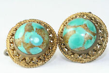 ANTIQUE AUSTRO HUNGARIAN SILVER GENUINE TURQUOISE SCREW EARRINGS