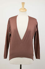 NWT BRUNELLO CUCINELLI Woman's Brown Cotton V-Neck Sweater Size XS $1370