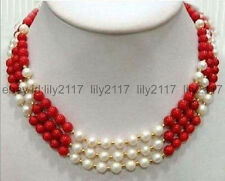 New 3 rows of real 7-8MM white pearl + 8MM red coral necklace 17-19 inches
