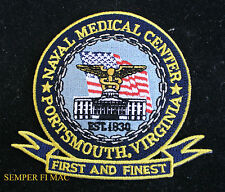 US NAVY MEDICAL CENTER PORTSMOUTH CORPSMAN HAT PATCH MARINES PIN UP DOC FMF USS