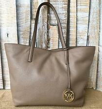 Authentic MICHAEL KORS Dark Beige Pebbled Leather Large Izzy Tote Bag NWT NEW!