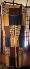 Wilsons Leather Maxima Patchwork Crochet Suede Hippie Pants Size 10 Pre Owned