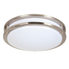 "Maxxima 14"" Satin Nickel LED Ceiling Mount Fixture - Warm White, 1300 Lumens"