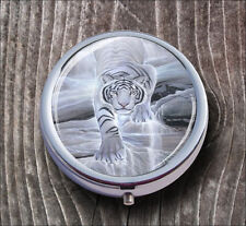 WHITE TIGER GHOST WALKING PILL BOX ROUND METAL -lko1Z