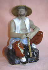 """ORIENTAL - SHIWAN Chinese Mudman Pottery WORKMAN with SLEDGEHAMMER - 7.5 """""""