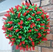 Best Artificial Large 40cm Lush Red Long Leaf Topiary Flower Ball Hanging Basket