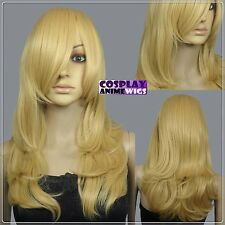 62cm Beige Blonde Heat Styleable Layers Drag Bangs Cosplay Wigs 66_086