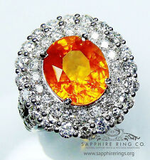 Order x 2 Rings - 8.74tcw Orange Oval Cut Natural Sapphire & Diamond Ring & Band