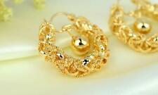 Pure 18K Yellow Gold Filled Womens Earrings Filigree Hoop earrings