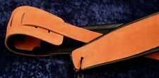 FORT BRYAN LEATHER GUITAR STRAP - TAN AND BLACK LEATHER for GUITAR or BASS