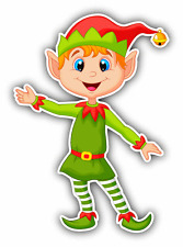 "Christmas Elf Cute Cartoon Car Bumper Sticker Decal 3"" x 5"""