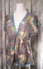 JOHNNY WAS LOS ANGELES GRAY SILK FLORAL PRINT BOHEMIAN HIPPY TOP BLOUSE SIZE S