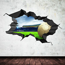 3D FOOTBALL FULL COLOUR CRACKED STADIUM Wall Art sticker Decal Boy Graphic Mural