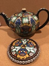 Antique Thoune Owl Swiss Majolica Pottery Teapot With Stand