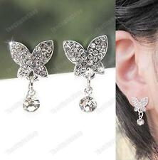 U CLIP ON rhinestone CRYSTAL BUTTERFLY drop EARRINGS non-pierced SILVER PLATED