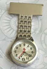 ONYK SILVER NURSES WATCH PIN/BROOCH SILVER DIAL NUMBERED HOURS EASY TO READ NEW!